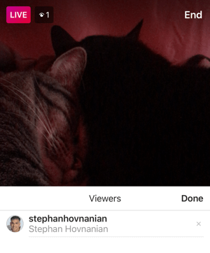 Click the X next to a person's name to remove him or her from your Instagram Live broadcast.