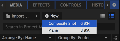 On the Media tab, click New and choose Composite Shot.