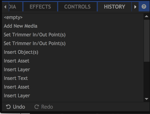 Use the History tab to undo edits to your video project.