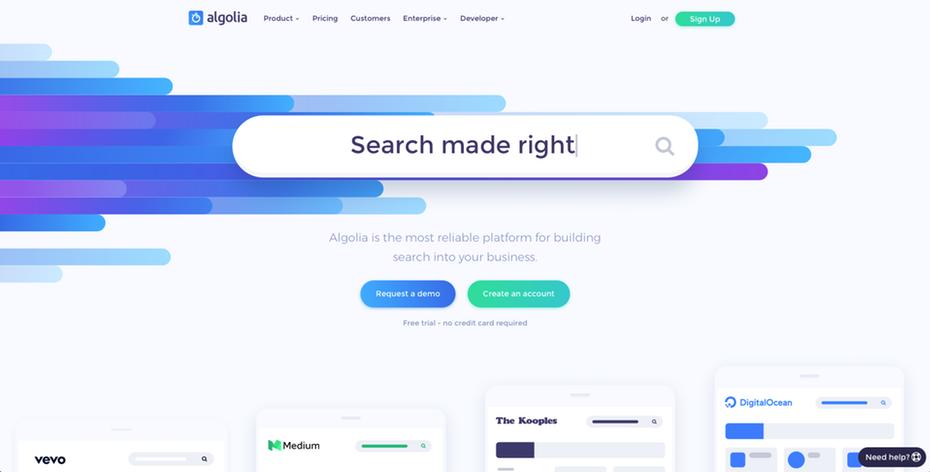Панель поиска для сайта Algolia