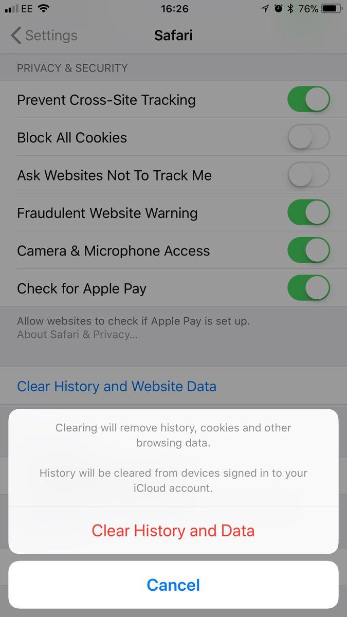 Как очистить кеш на iPhone или iPad: очистить историю и данные