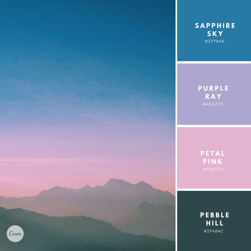 Happy Friday everybody! ✨ Here's our latest color combo: Weekend Wander.  Type the hex codes into your Canva color wheel to get these exact hues in your designs! Tap here to see more: #canvacolors !
