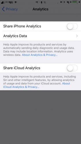turn off iphone and icloud analytics