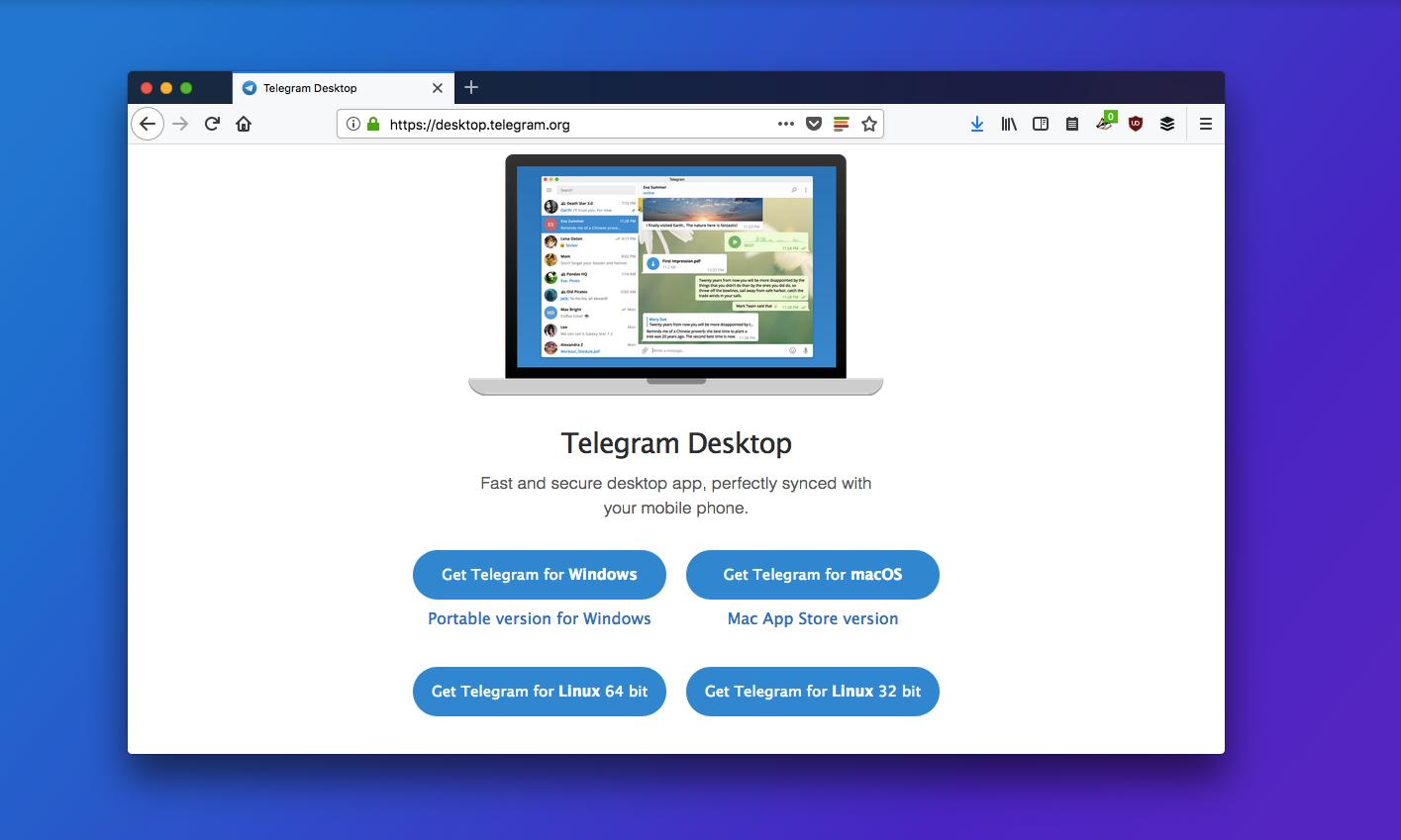 Скачать Telegram для рабочего стола