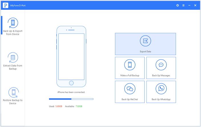 экспортировать данные с устройства iOS