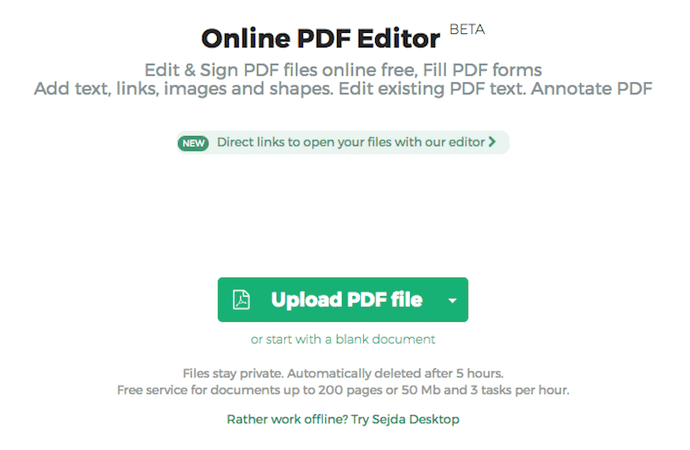 Homepage of Sejda for uploading PDFs to edit